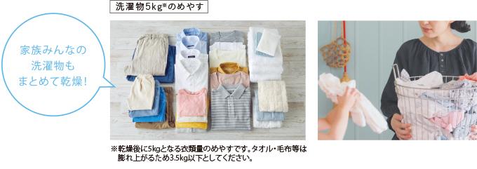 リンナイガス衣類乾燥機5㎏の洗濯物
